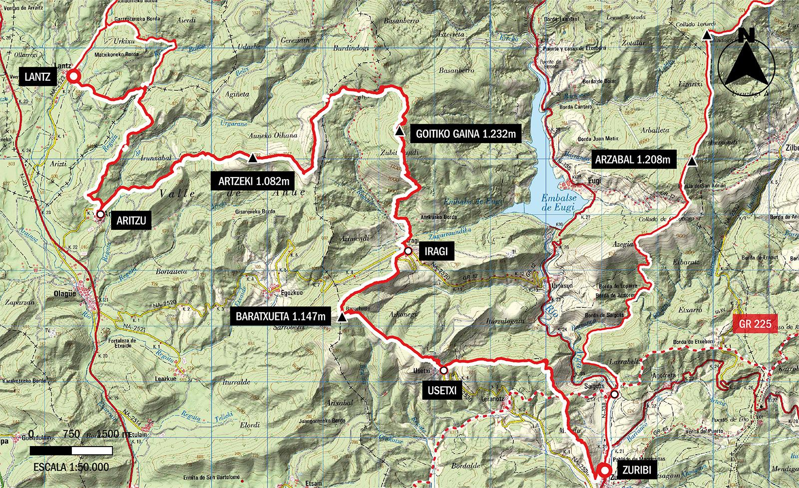 gr322 etapa 3 Mapa topográfico